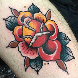 A very vibrant traditional rose by Adam Cornish (IG-adamcornishtattooer_otc). #AdamCornish #bold #bright #rose #traditional