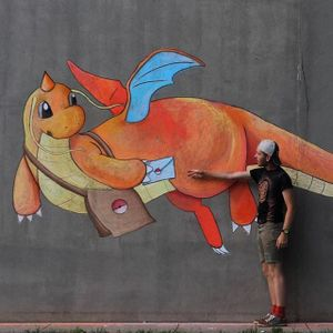 Dragonite Chalk Art by Wylie Caudill #pokemon #pokemonchalkart #pokemonstreetart #chalkart #streetart #chalkartist #streetartist #WylieCaudill