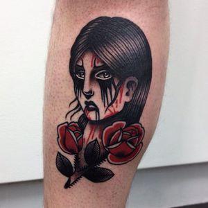 Goth babe by Danielle Rose (via IG-daniellerosetattoo) #babehead #woman #portrait #traditional #color #spooky #goth #DanielleRose