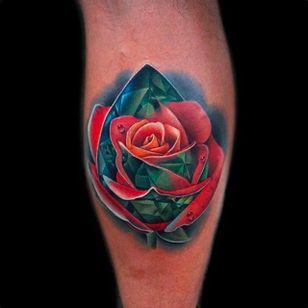 Crystal Rose Tattoo by Andrés Acosta @Acostattoo #AndrésAcosta #Acostattoo #Rose #Rosetattoo #Rosetattoos #Austin #Crystal