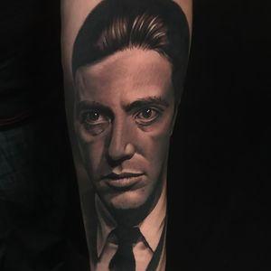 The Godfather II tattoo by Jacob Sheffield #JacobSheffield #movietattoos #blackandgrey #portrait #realism #realistic #hyperrealism #photorealism #TheGodfather #AlPacino #actor #famous #classicfilm #film