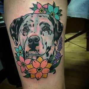 Flowery dalmatian piece by Savannah Brayton. #neotraditional #flowers #floral #dog #dalmatian #SavannahBrayton