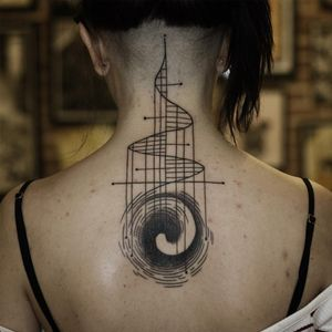 Tattoo by Franco Maldonado #FrancoMaldonado #blackandgrey #illustrative #newtraditional #darkart #surreal #linework #fractal #sacredgeometry #geometric #abstract