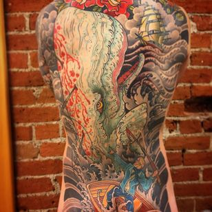 Another amazing whale by Josh Wrede (via IG -- joshwrede_tildeath) #joshwrede #whale #whaletattoo #seammonster #seamonstertattoo