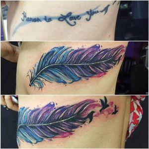 #coverup #pena #feather #MarcellaAlves #aquarela #watercolor #colorida #colorful #brasil #brazil #portugues #portuguese