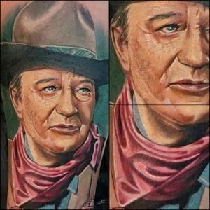John Wayne Tattoo by @madamefink #johnwayne #johnwaynetattoo #wildwest #hollywood #hollywoodtattoos #movie #films #movietattoos #cowboy #madamefink