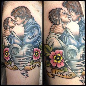 Han Solo and Leia Tattoo by Ebony Mellowship #hansolo #princessleia #hansoloandleia #leia #starwars #couples #couple #EbonyMellowship