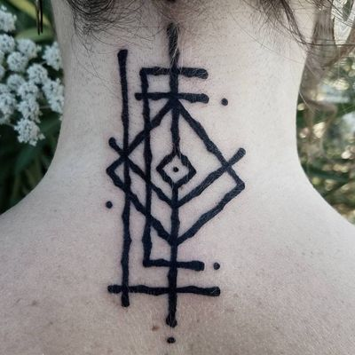 "A rune that says ""love"" by Watsun Atkinsun (IG—watsunatkinsun). #blackwork #rune #WatsunAtkinsun"