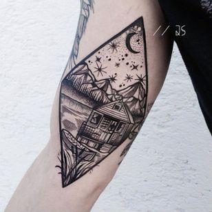 Landscape scene tattoo by Jessica Svartvit #geometric #landscape #JessicaSvartvit