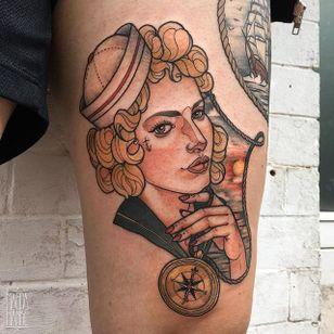 Sailor Girl Tattoo by Magda Hanke #sailorgirl #sailorgirltattoo #neotraditional #neotraditionaltattoo #neotraditionaltattoos #neotraditionalartist #MagdaHanke