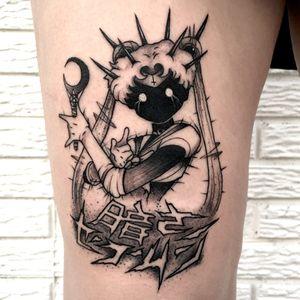 Evil Sailor Moon tattoo by James Glenn aka necronomitron #JamesGlenn #necronomitron #sailormoontattoos #blackandgrey #linework #dotwork #illustrative #anime #manga #sailormoon #darkart #moon #evil #kanji