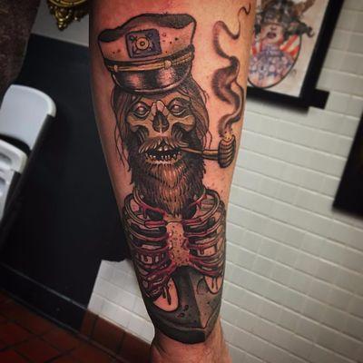 Peça do tatuador #AnthonyJames #zumbi #zombie #neotraditional #marinheiro #saylor #cachimbo #pipe #esqueleto #skull #barba #beard