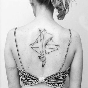 Shark tattoo by Norako #Norako #dotwork #nature #shark #geometric