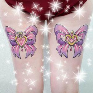 Sailor Moon tattoo by Shannan Meow. #ShannanMeow #girly #cute #kawaii #pastel #sailormoon #anime #ribbon