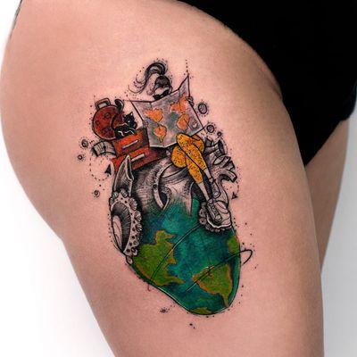 #RobsonCarvalho #brasil #brazil #brazilianartist #tatuadoresdobrasil #aquarela #watercolor #ilustração #illustration #coração #heart #coraçãoanatomico #anatomicalheart #woman #mulher #mundo #world #viagem #travel #gato #cat
