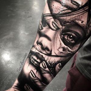 Skull woman tattoo by Levi Barnett. #blackandgrey #realism #skull #woman #LeviBarnett