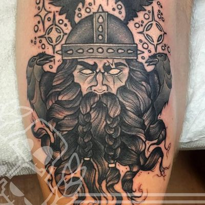 A magical black and grey depiction of Odin from Aaron Riddle's body of work (IG—aaronriddletattoos). #AaronRiddle #AmericanGods #blackandgrey #Odin