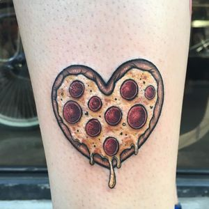 Pizza heart tattoo by Megan Massacre #MeganMassacre #foodtattoos #color #newtraditional #realistic #pizza #pepperonipizza #cheese #heart #love #valentine #tattoooftheday