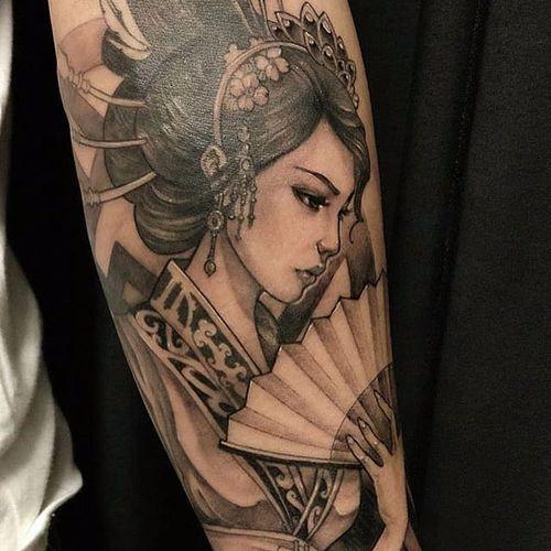 Linda Gueixa por David Hoang! #DavidHoang #Gueixa #gueixatattoo #geisha #geishatattoo