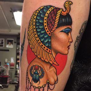 Cleopatra by Megan Massacre #MeganMassacre #color #neotraditional #newtraditional #cleopatra #egyptian #crown #scarab #wings #jewels #snake #cobra #headdress #jewelry #lady #portrait #tattoooftheday
