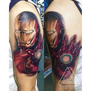 Iron Man tattoo done at Altar Tattoo. #marvel #superhero #ironman #comic #movie #tonystark