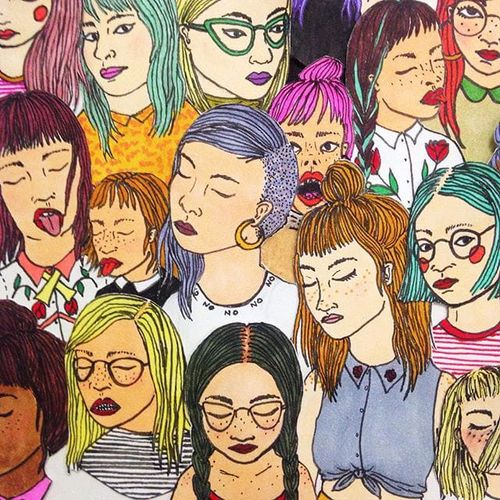 Tiny Ladies via fawnandolive #illustration #fineartist #tattooedladies #SarahMyers #artshare #colorful #art