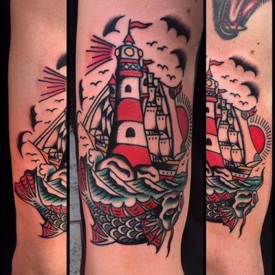A lighthouse looming over a sea monster by Daniele Genchi (IG—daniele_genchi). #DanieleGenchi #clipper #lighthouse #seamonster #seascape #traditional