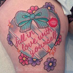 Pinkwork self-love tattoo by Sam Whitehead. #pinkwork #kawaii #girly #cute #SamWhitehead #heart