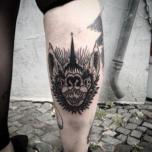 Bat Tattoo by Marcel Birkenhauer #bat #battattoo #blackwork #blackworktattoo #blackink #blackworkartist #berlin #MarcelBirkenhauer