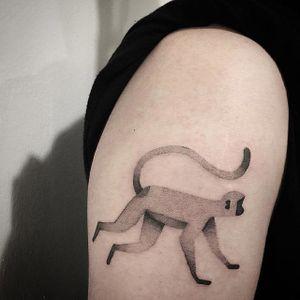 Dotwork tattoo by Kim HeyMin. #KimHeyMin #dotwork #fine #pointillism #monkey #minimalist