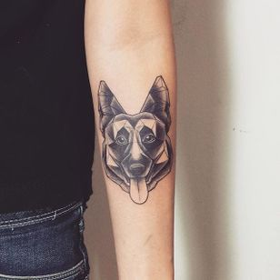 Geometric German Shepherd tattoo with smooth black and grey shading. By @fintattoos. #dog #germanshepherd #geometric #blackandgrey #fintattoos