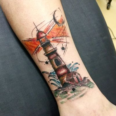 Por Johnny Piercer #JohnnyPiercer #brasil #brazil #tatuadoresdobrasil #brazilianartist #farol #lighthouse #watercolor #aquarela #sketchstyle