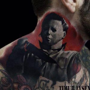 Michael Myers Tattoo by Timur Lysenko #michaelmyers #michaelmyerstattoo #halloween #halloweenatattoo #horror #horrortattoo #TimurLysenko