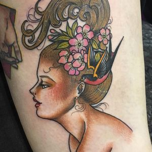Tattoo by Guen Douglas #GuenDouglas #neotraditional #color #gibsongirl #swallow #cherryblossoms #flowers #floral #bird #wings #feathers #ladyhead #lady