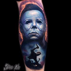 Michael Myers Tattoo by Evan Olin #michaelmyers #michaelmyerstattoo #halloween #halloweenatattoo #horror #horrortattoo #EvanOlin