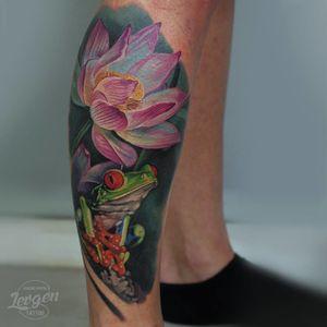 Realistic frog and lotus tattoo #lotustattoo #frogtattoo #realistictattoos #Levgen #EugeneKnysh
