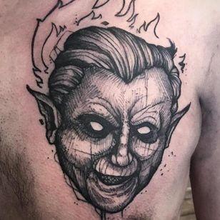 Evil Pope tattoo by Ergo Nomik #ErgoNomik #blackwork #pope