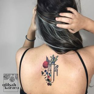 Conceptual science-inspired botanical tattoo by Gülşah Karaca. #GulsahKaraca #illustrative #graphic #technicolor #trippy #geometric #science #botanical #conceptual