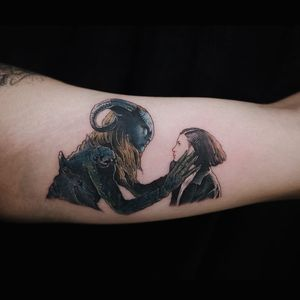 Pans Labyrinth tattoo by Sol tattoo #soltattoo #movietattoos #color #realism #realistic #filmstill #panslabyrinth #guillermodeltoro #movie #fawn #portrait #monster #girl