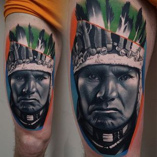 An awesome portrait of a Native American via James Artink (IG— james_artink). #blackandgrey #JamesArink #NativeAmerican #realism
