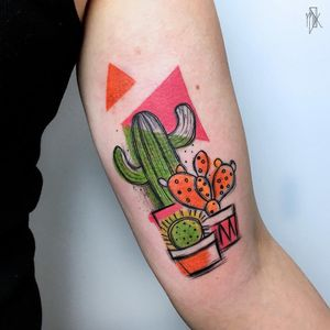 Cute Succulents tattoo by Marta Kudu #MartaKudu #planttattoos #color #linework #illustrative #shapes #cacti #cactus #succulents #pattern #bright #cute #abstract #popart #tattoooftheday