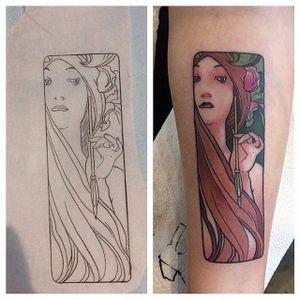Mucha Tattoo by @ceceliatat2 #mucha #muchatattoo #muchatattoos #alphonsemucha #alphonsemuchatattoo #muchalady #muchaart #arttattoos #artnouveau #artnouveautattoo #artnouveuatattoos