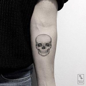 Skull by Marla Moon #MarlaMoon #linework #dotwork #skull #minimalistic #tattoooftheday