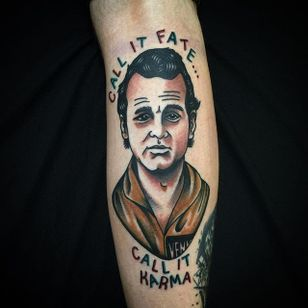Bill Murray Tattoo by Matt Cooley #traditional #traditionalportrait #MattCooley #BillMurray