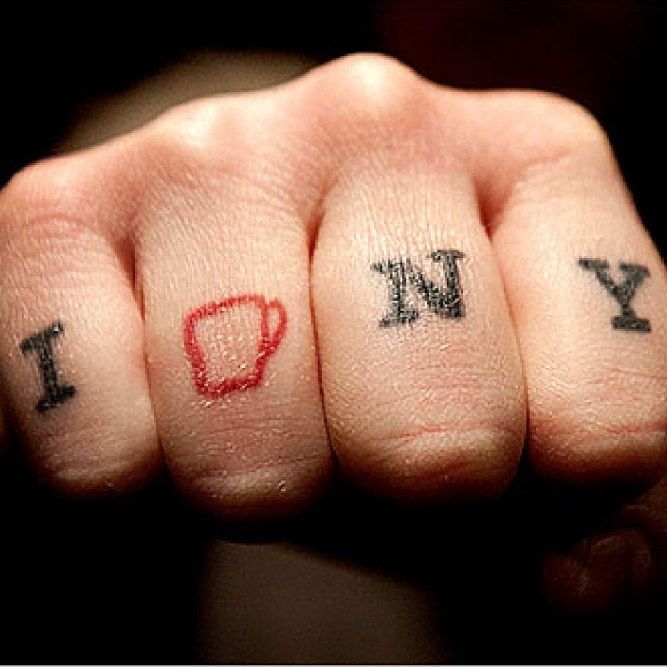 Sam Penix's awesome coffee-themed NYC knuckle tattoo. Photo by Ashley Gilbertson #coffee #copyright #EverymanExpresso #knuckles #ILoveNewYork #SamPenix