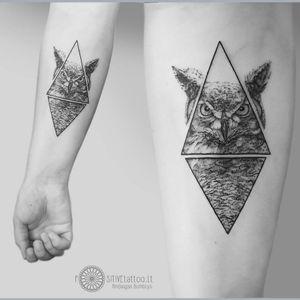 Owl tattoo by Mindaugas Bumblys #MindaugasBumblys #geometric #nature #blackwork #owl