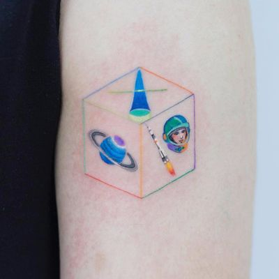 Tiny space square by Zihee #Zihee #color #minimal #saturn #astronaut #small #cute #spaceship #rocket #portrait #space #galaxy #scifi #blackhole #star #square #shape #rainbow #nasa #tattoooftheday