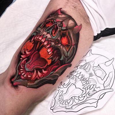 Demon tattoo by Isnard Barbosa #IsnardBarbosa #demontattoos #color #neotraditional #skull #skeleton #demon #death #hell #possessed #devil #satan #fire