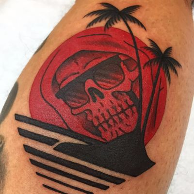 A reaper decked out in a pair of shades by Frankie Caraccioli (IG—death_cloak). #DeathinParadise #FrankieCaracciolo #GrimReaper #reaper #traditional