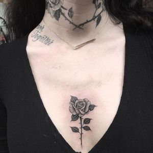 Rose Tattoo by Em Scott #rose #roses #blackandgreyrose #blackandgrey #blackandgray #fineline #finelinerose #EmScott